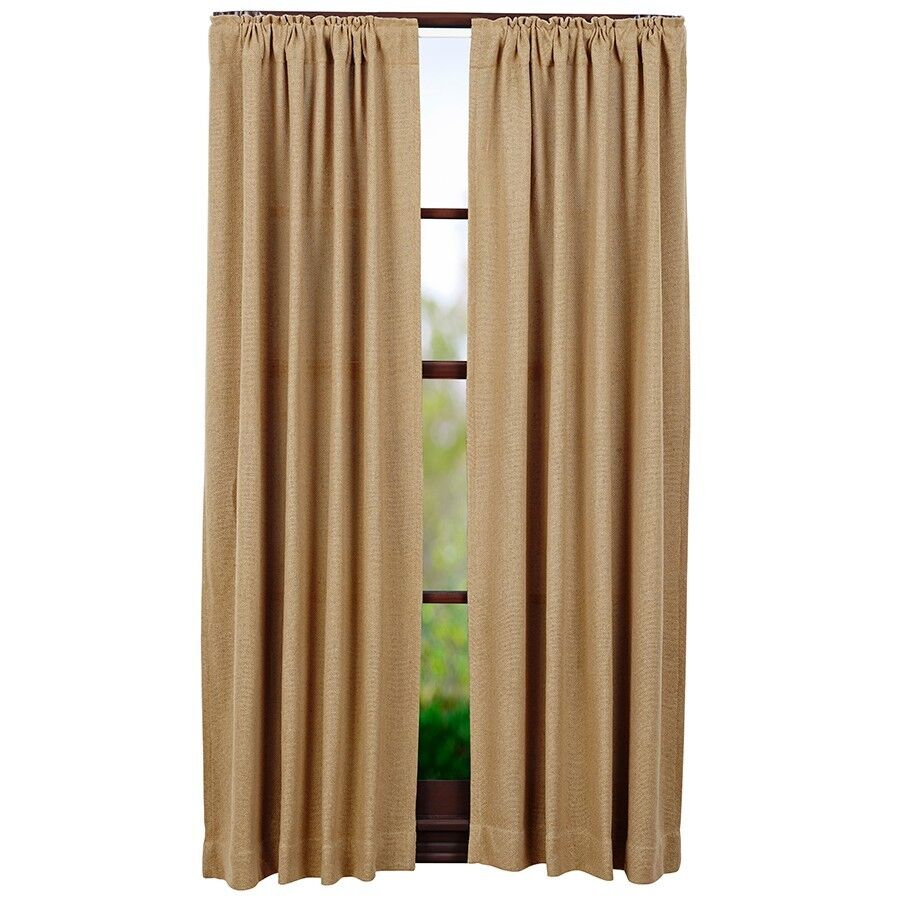 Rustic burlap window treatments - Burlap Natural Short Panel Set Rustic Primitive Khaki Tan Curtain 63