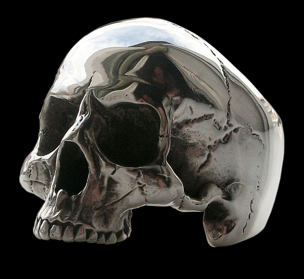 925 sterling silver anatomical keith richards skull ring