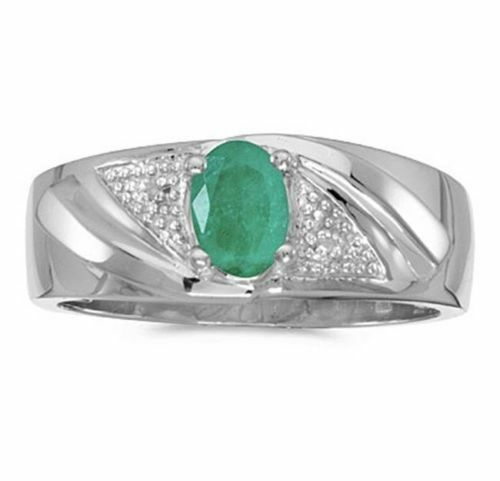 Mens Natural Emerald and Diamond Ring 10K White Gold