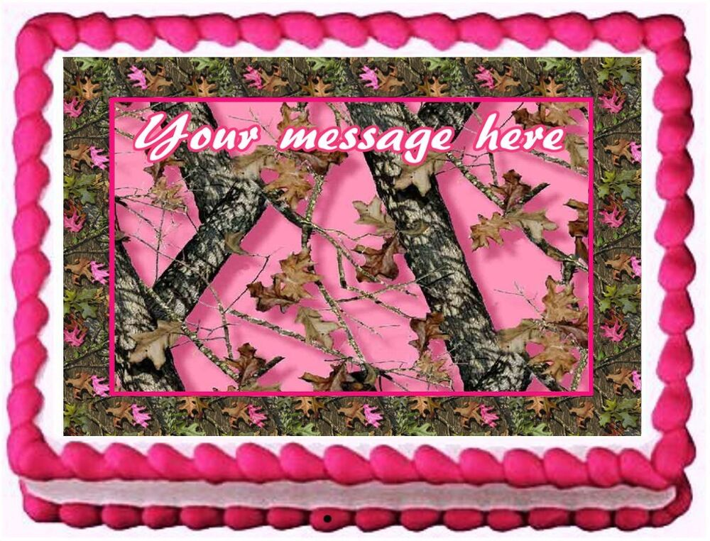 PINK CAMO TREE CAMOUFLAGE Image Edible cake topper ...