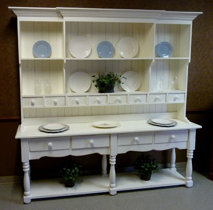 Antique China Hutch >> Large Pine French Farmhouse Wide Hutch, Beaded Board Back ...