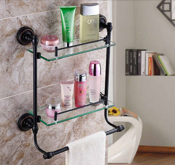 Luxury Oil Rubbed Bronze Bathroom Shelf Dual Glass Tiers W Towel Bar Wall Mount Ebay