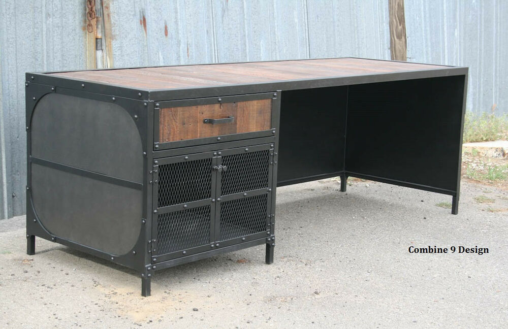 Vintage industrial desk steel and reclaimed wood modern for Metal desk with wood top