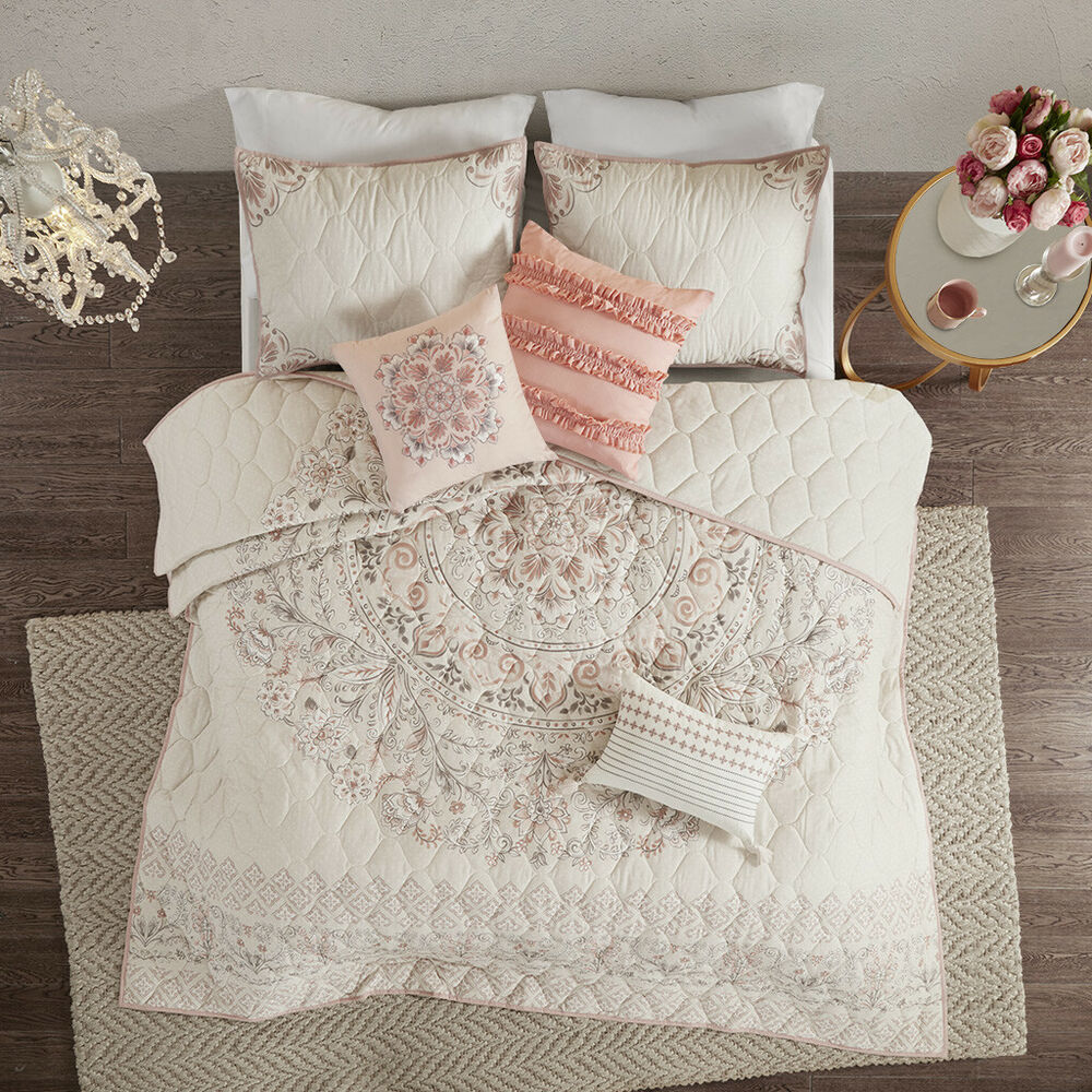Beautiful 9pc Modern Chic Light Blue White Brown Floral Bed In Bag