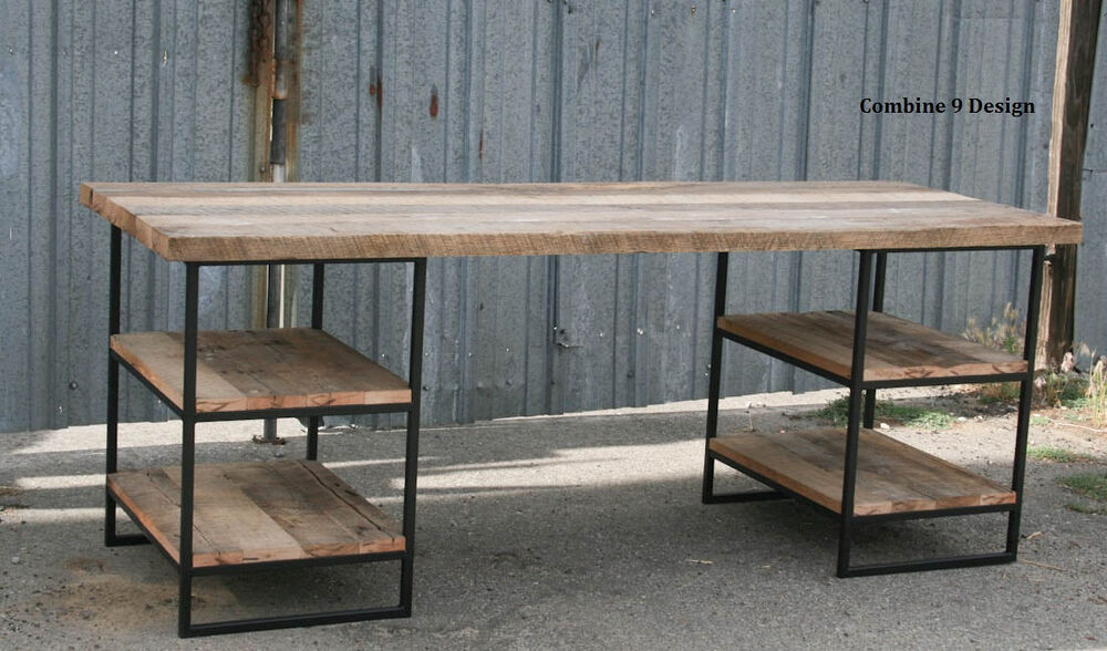 Desk made of steel and Reclaimed Wood. Shelving/Storage. Industrial ...