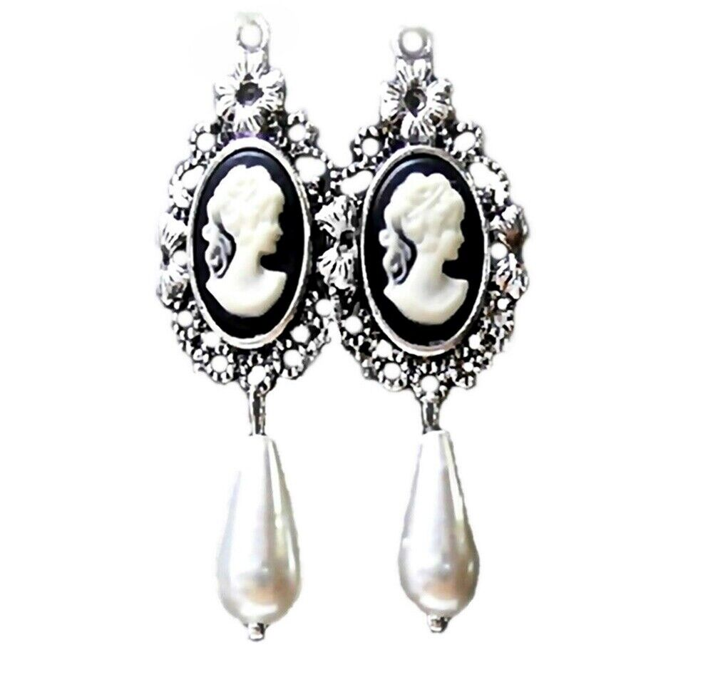 vintage style black cameo pearl antique silver earrings