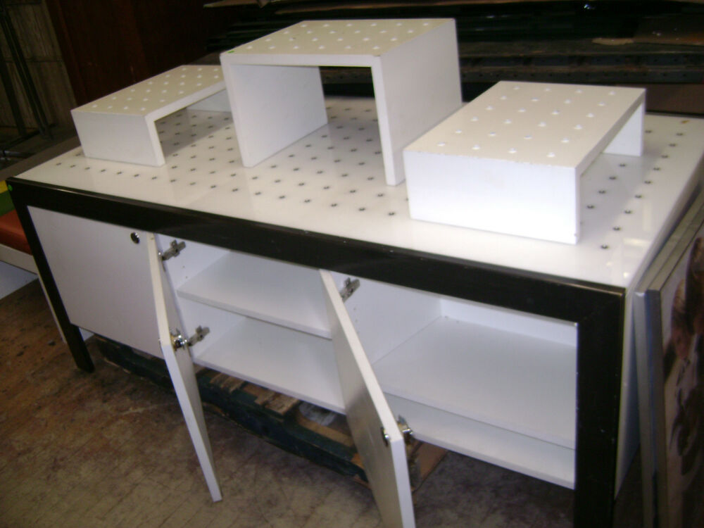 Retail display table black white modern industrial for Display table