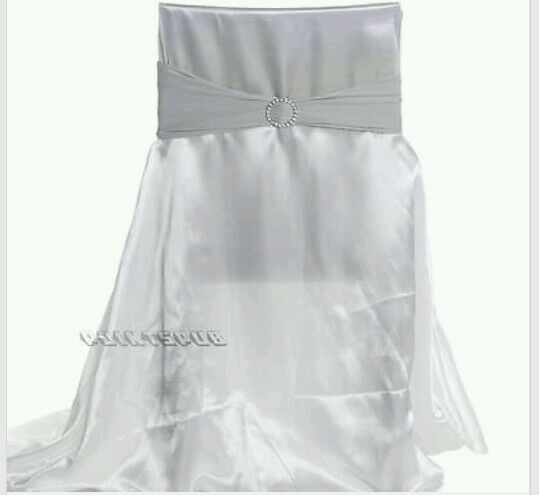 Silver Chair Cover Bow Sashes With Clips Ebay