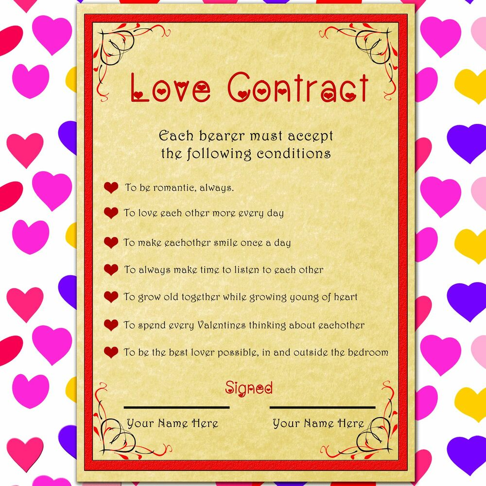 Personalised Love Contract Romantic Gift For Her Or Him On