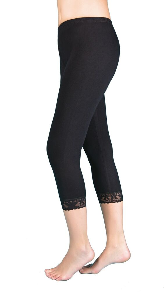 damen capri leggings radlerhose lang mit spitze baumwolle 3 4 n 202 ebay. Black Bedroom Furniture Sets. Home Design Ideas