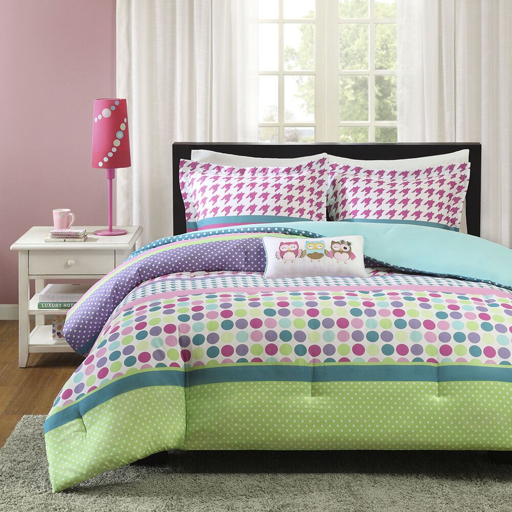 beautiful pink purple green blue aqua teal polka dot owl girls comforter set ebay. Black Bedroom Furniture Sets. Home Design Ideas