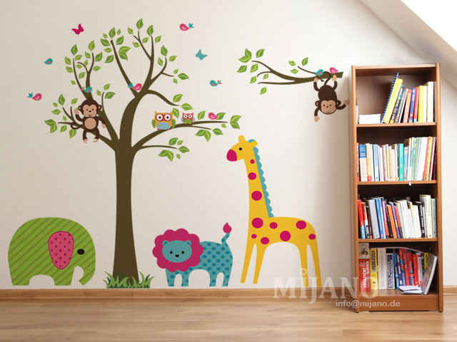 wandtattoo wandsticker wandaufkleber eulen auf baum waldtieren kinderzimmer deko ebay. Black Bedroom Furniture Sets. Home Design Ideas