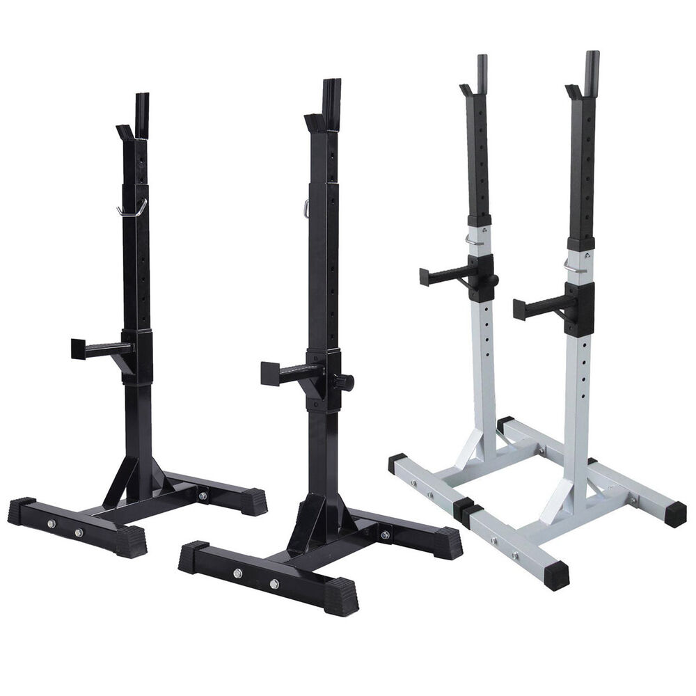 Heavy Duty Gym Squat Barbell Power Rack Stand Adjustable Press Weight Bench Ebay