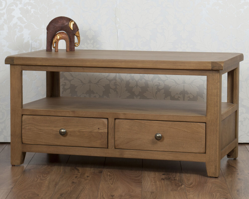 solid chunky oak dorset country 2 drawer fully assembled coffee table tv stand ebay. Black Bedroom Furniture Sets. Home Design Ideas