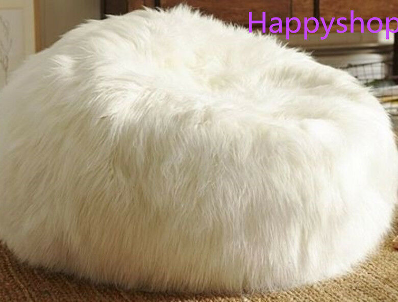 Large Faux Fur Beanbag Bean Bag Cover Shaggy Fur White