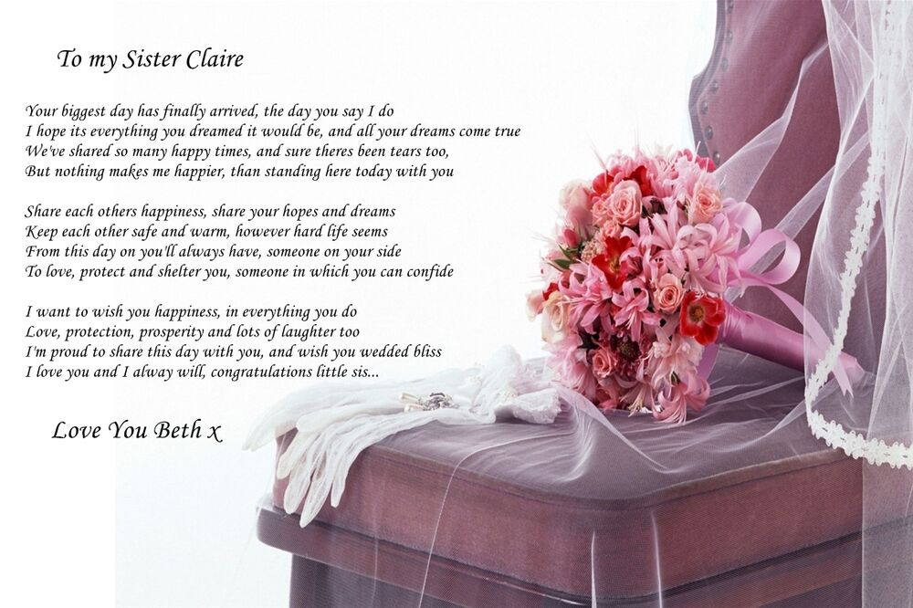 Wedding Gift For Sister Getting Married : A4 POEM TO SISTER ON HER WEDDING DAY IDEAL FOR FRAMING BEAUTIFUL ...