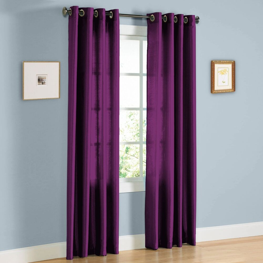 2 PANELS PURPLE FAUX SILK 8 GROMMET WINDOW CURTAIN DRAPES