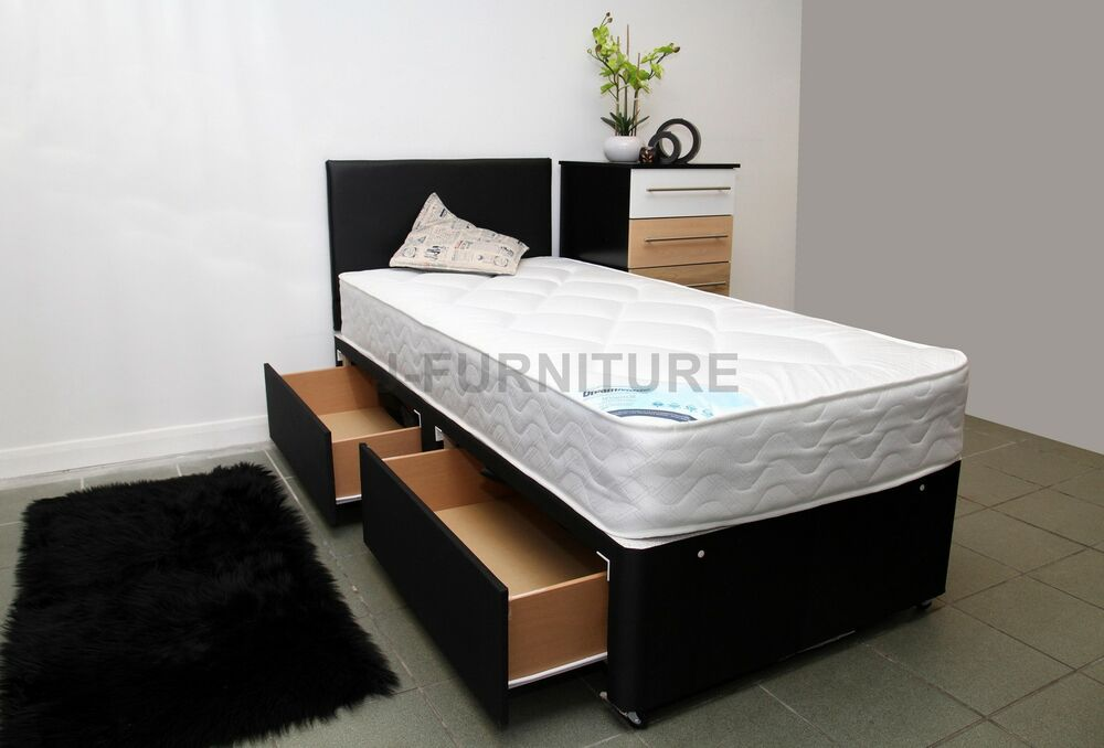 3ft Single Divan Bed With Storage 22cm Deep Mattress Free Headboard Ebay