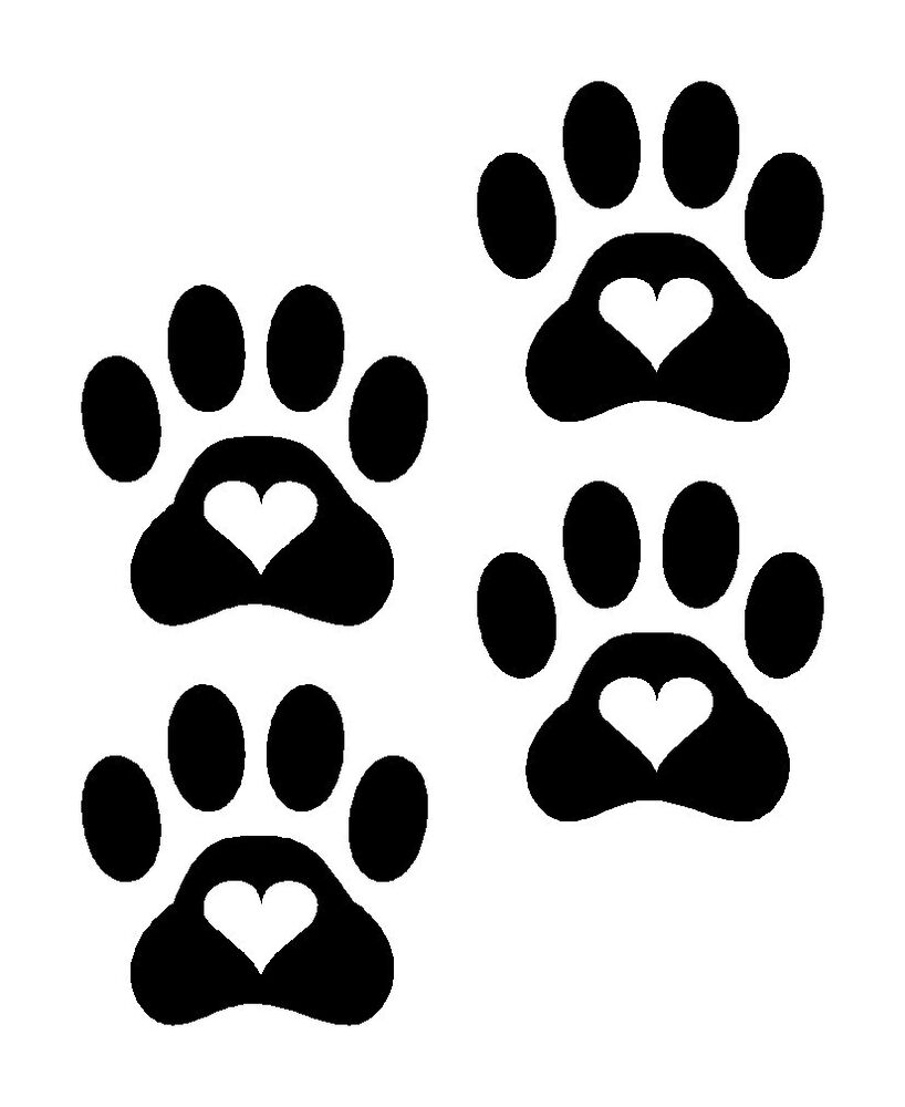 Heart Paw Prints Dog Cat Vinyl Decals Stickers 4 Set Puppy