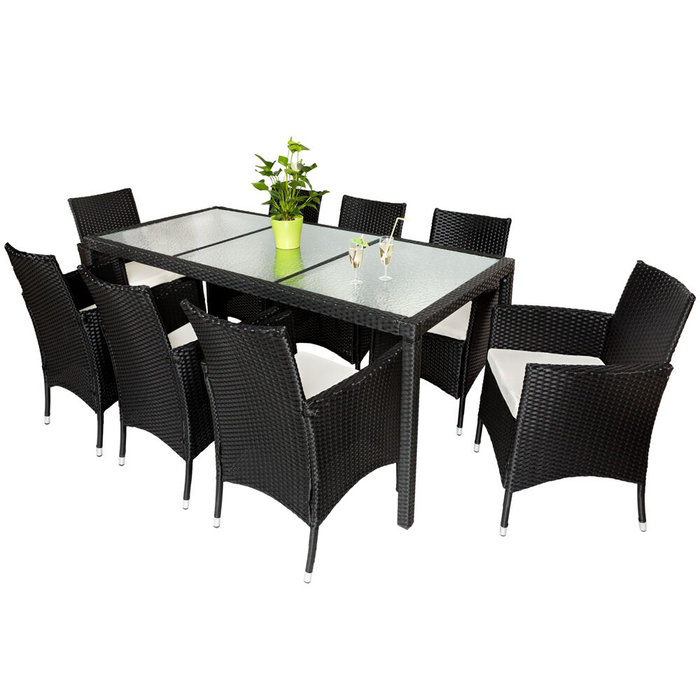 rattan garden furniture dining chairs set outdoor wicker black ebay