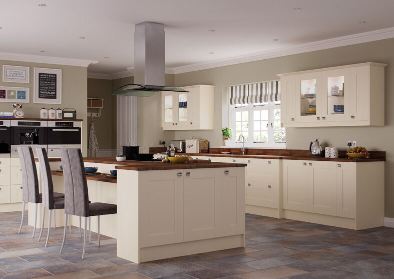 New ivory shaker complete fitted kitchen units brand new for Fitted kitchen cabinets