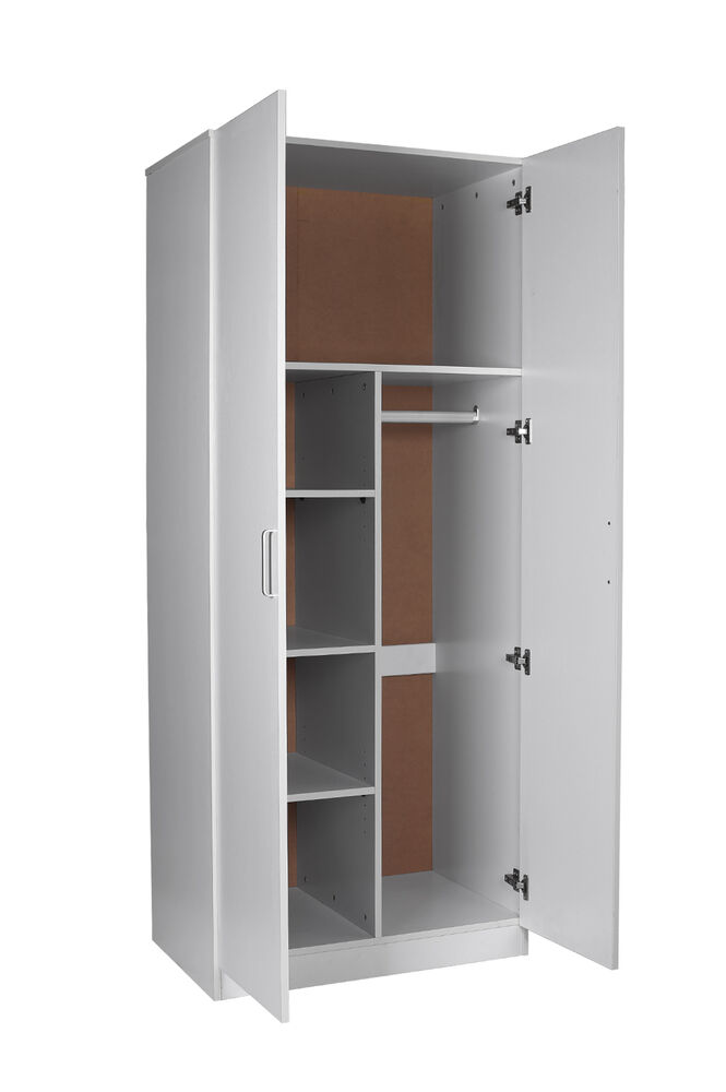 2 Door Pantry Combo Wardrobe White Hanging Rail Adjustable