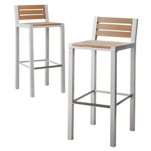 Bryant 2 Piece Faux Wood Patio Bar Stool Furniture Set Threshold Ebay