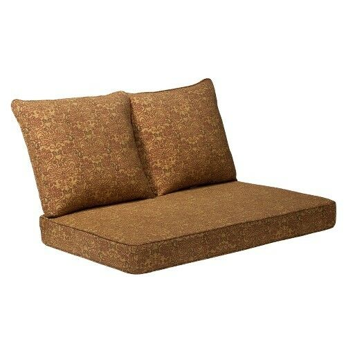 Madaga 3 piece outdoor loveseat replacement cushion set gold floral ebay - Conversation set replacement cushions ...