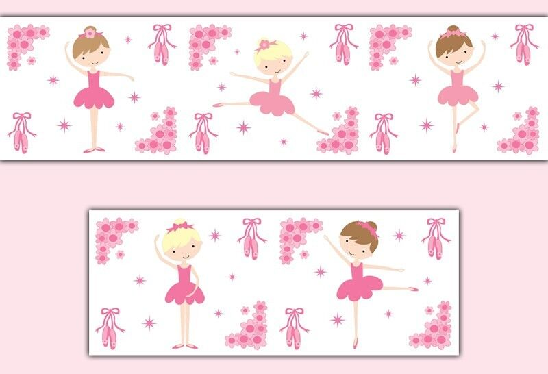 Pink ballerina wallpaper border wall decals baby girl for Baby room decoration wallpaper