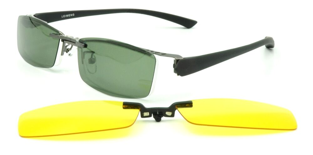 Eyeglass Frame With Magnetic Clip On Sunglasses : Mens Sporty Eyeglasses Frame Polarized Magnetic Clip-on ...