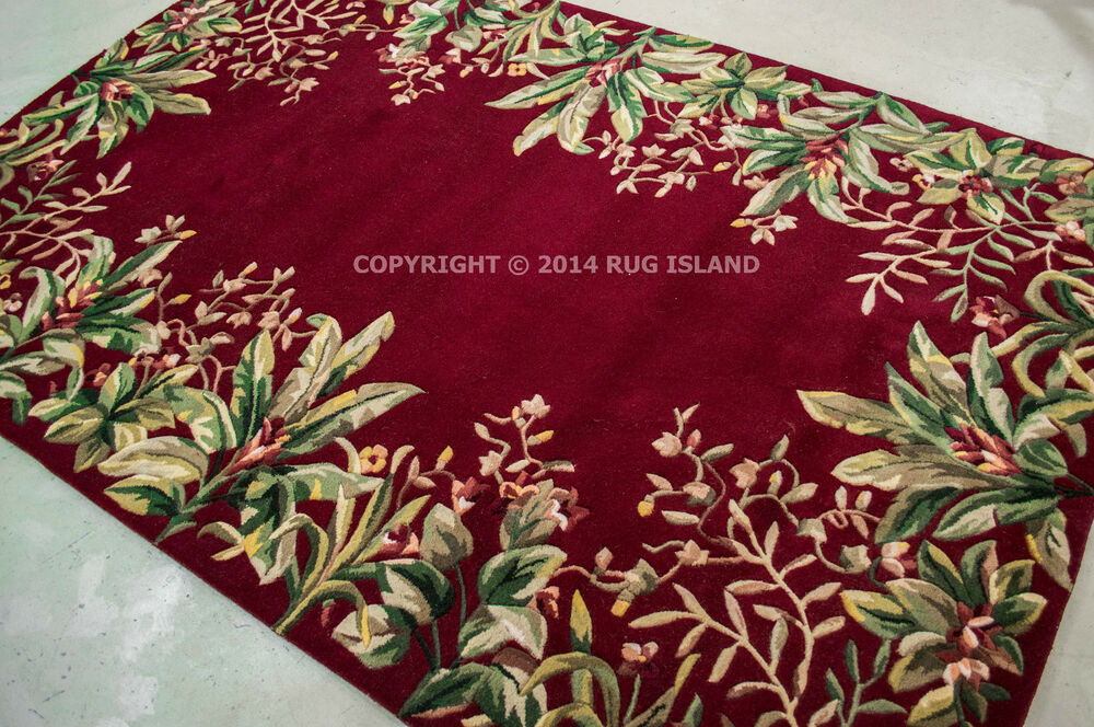 3x8 2 39 6 x 8 39 runner designer tropical coastal beach ruby red wool area rug ebay. Black Bedroom Furniture Sets. Home Design Ideas