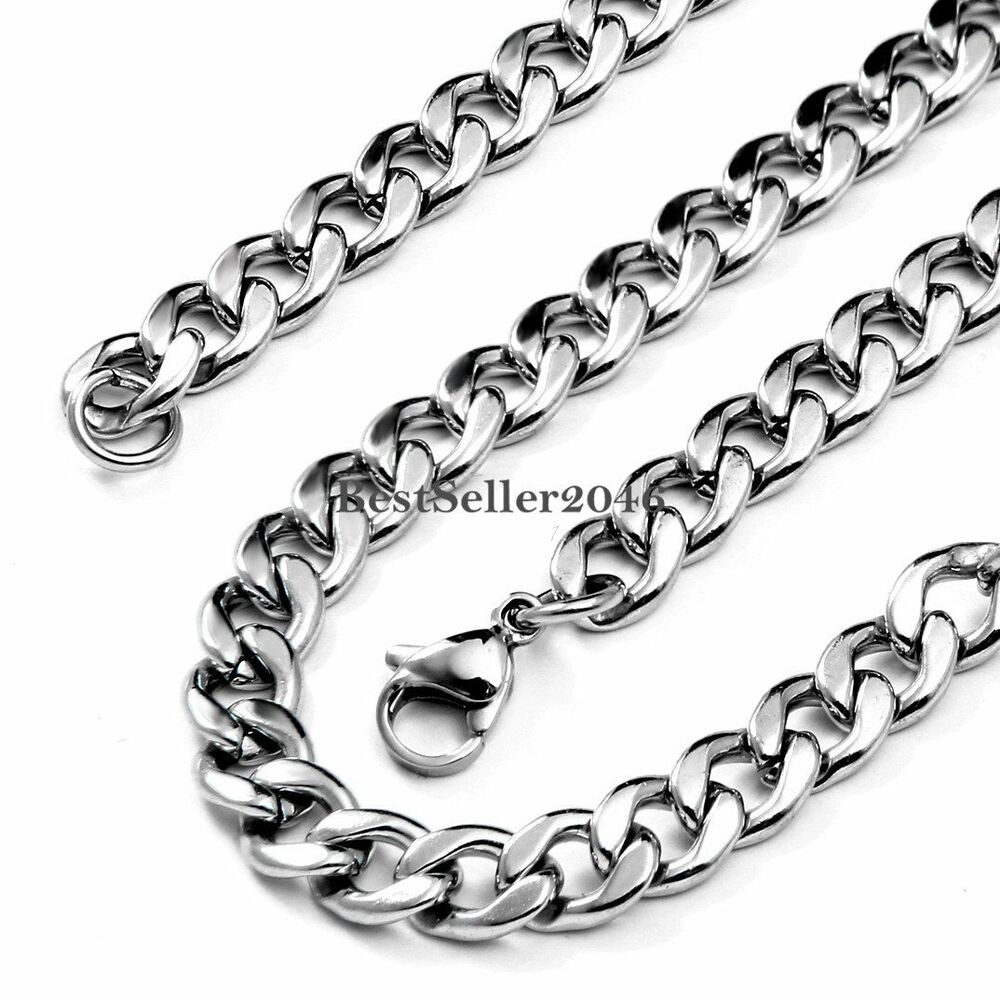 20 Inch Polished Flat Curb Cuban Chain Link Necklace Mens