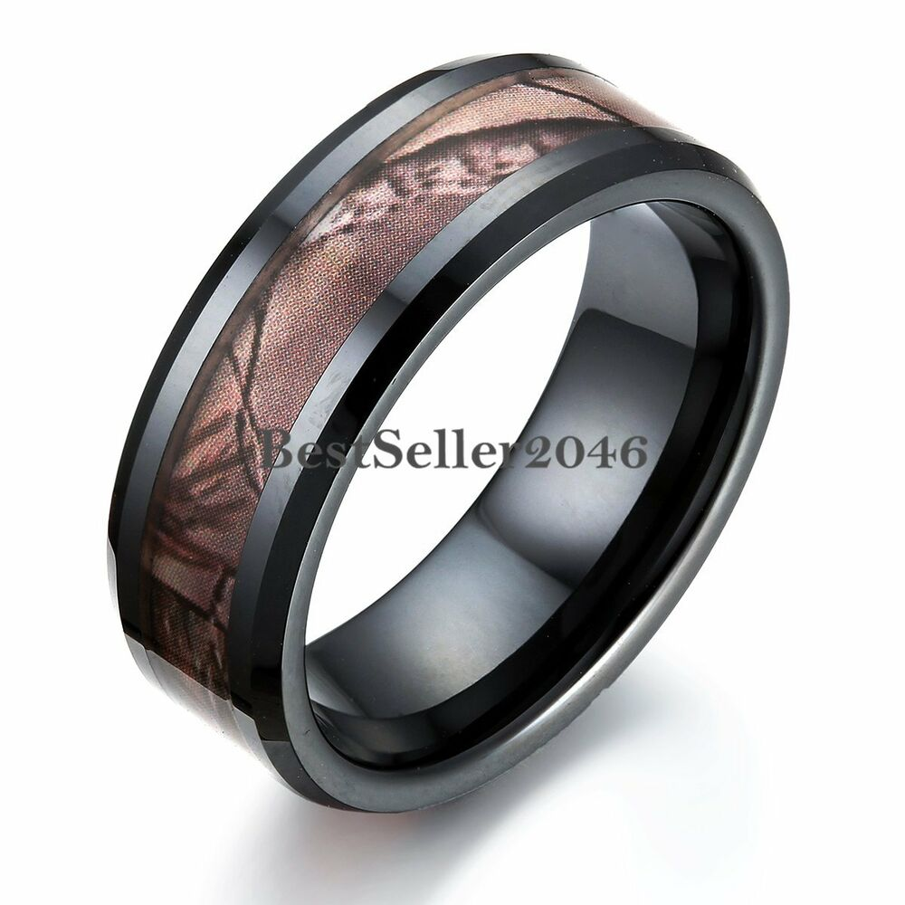 Black Ceramic Men S Hunting Camo Camouflage Ring Comfort