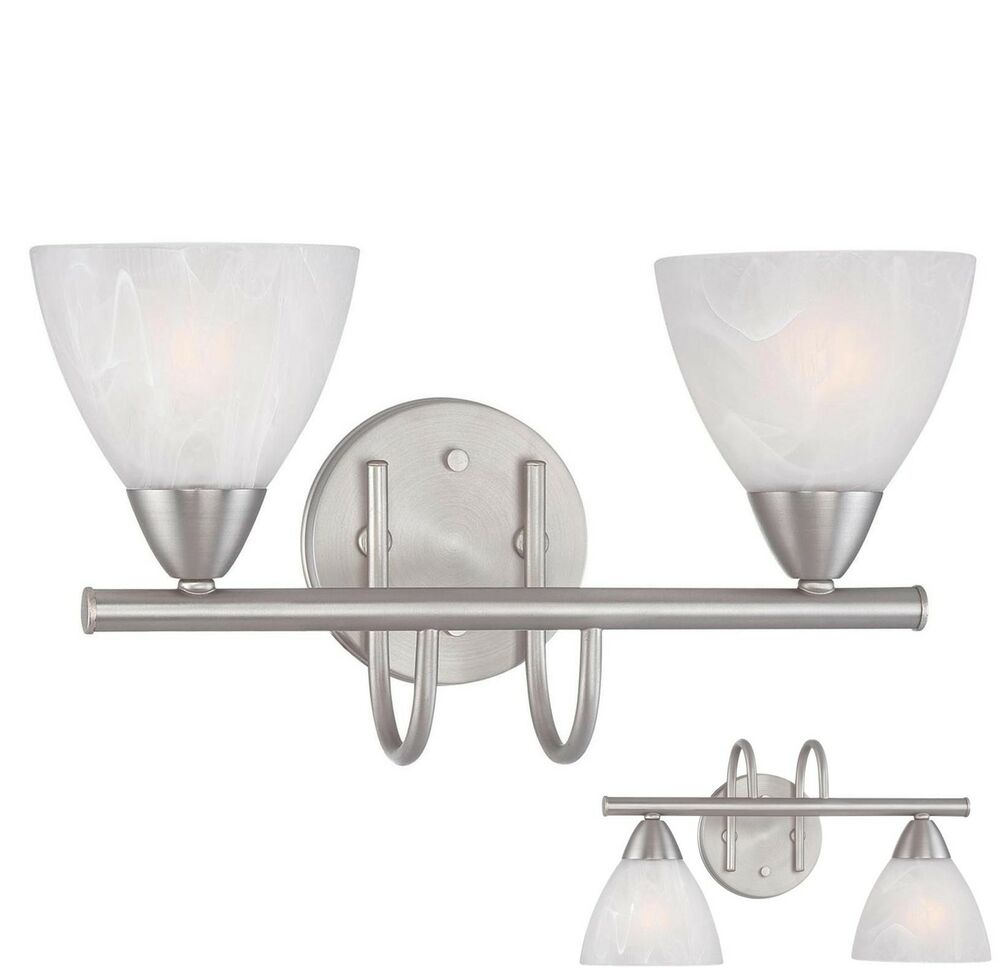 Brushed nickel 2 light bathroom vanity wall lighting bath for Bathroom 2 light fixtures
