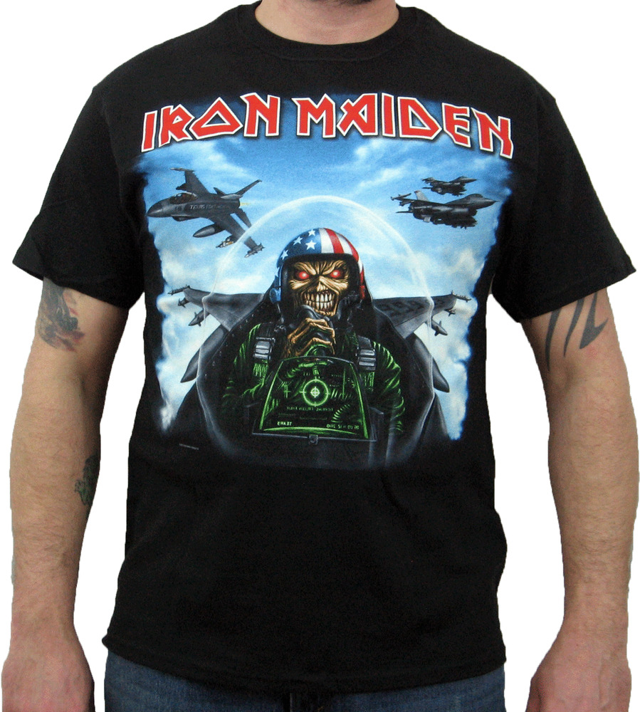 Iron maiden texas jetfighter men 39 s t shirt ebay for Iron man shirt for men