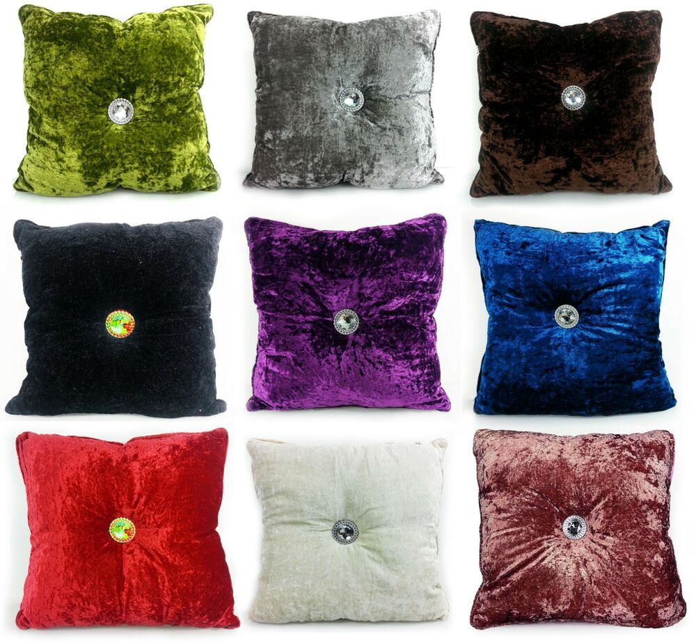 Cushion Crush Velvet Cushions Luxury Diamante Chic Filled