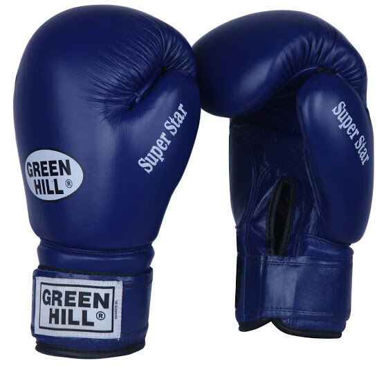 Green Hill Tiger Leather Boxing Gloves Training Sparring Muay Thai Punch Velcro