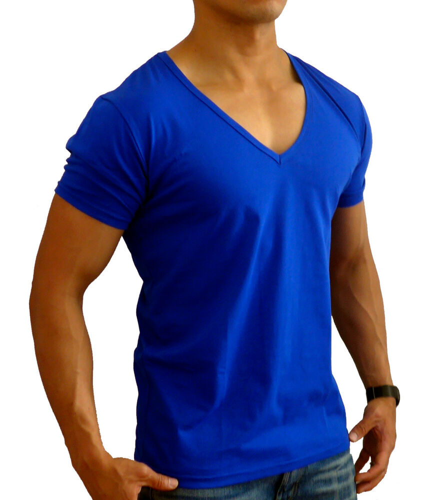 New Mens Plain Blue Deep V Neck T Shirt S Xxl Slim Fit