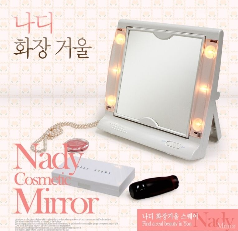 01 cordless lighted magnifying dual side makeup mirror square ebay. Black Bedroom Furniture Sets. Home Design Ideas