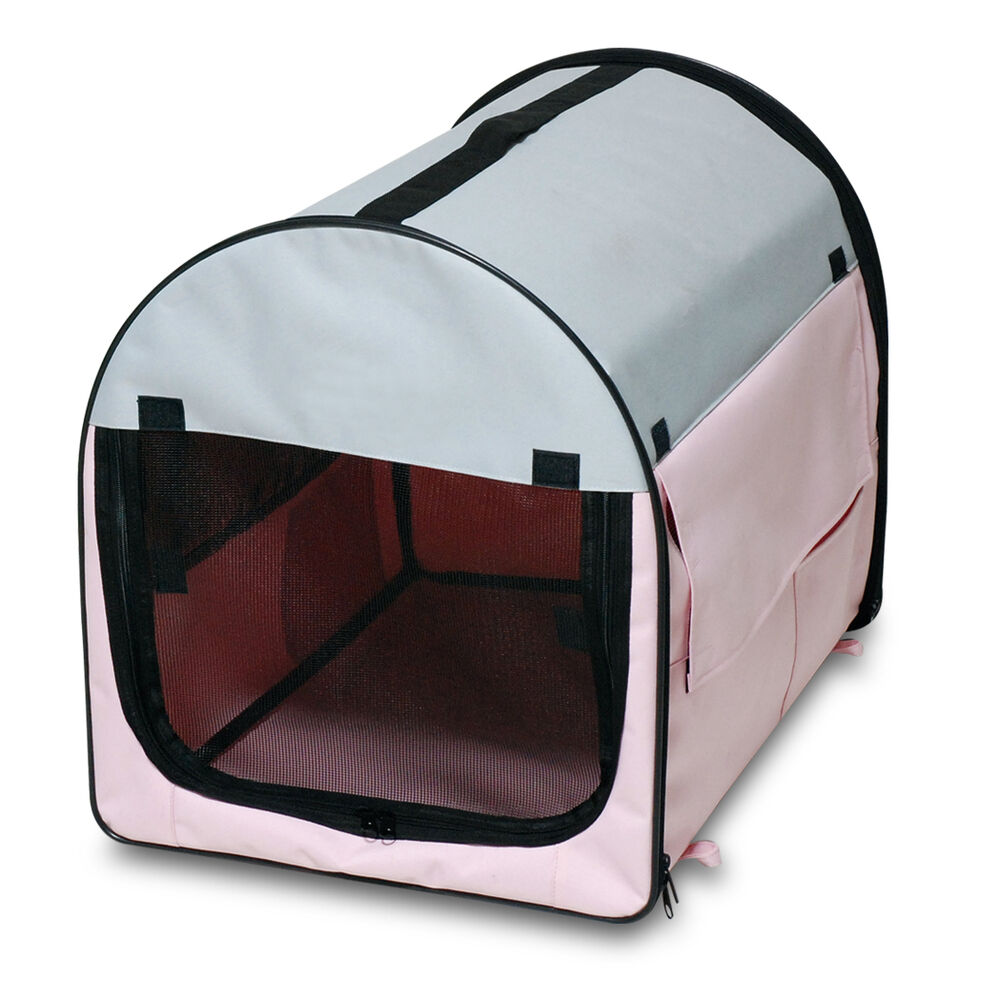 Folding fabric dog crate cat carrier portable pet soft for Portable travel dog crate