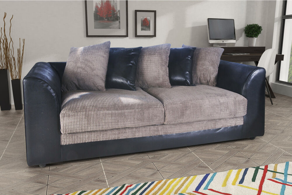 Dylan 3 seater sofa in black grey jumbo cord fabric for Cheap quality couches