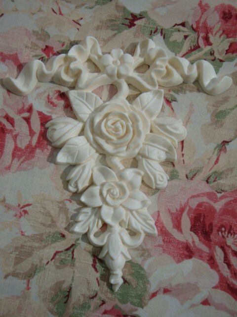 shabby chic bow rose floral drop applique furniture applique architectural ebay. Black Bedroom Furniture Sets. Home Design Ideas