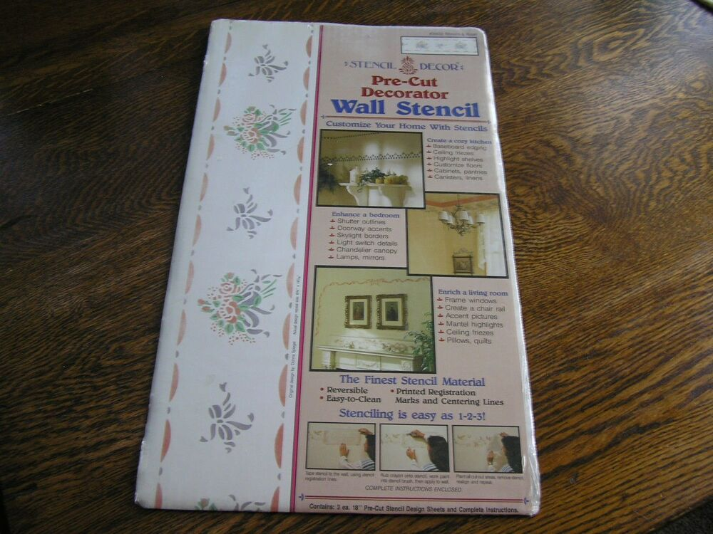 1990 plaid stencil decor ribbons roses decorative wall stencil 26632 new ebay Home decor 1990s