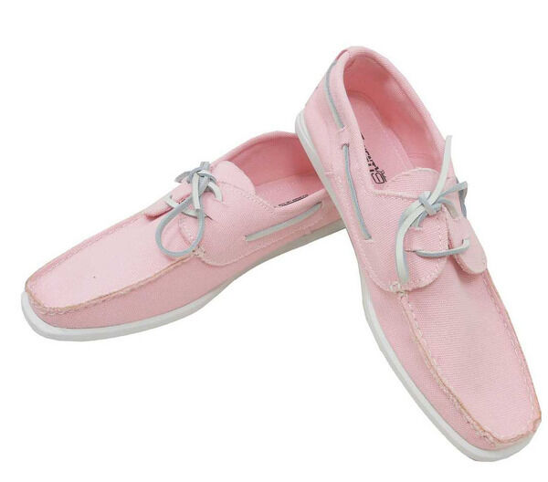 s pink white fabric casual leather lace moccasins