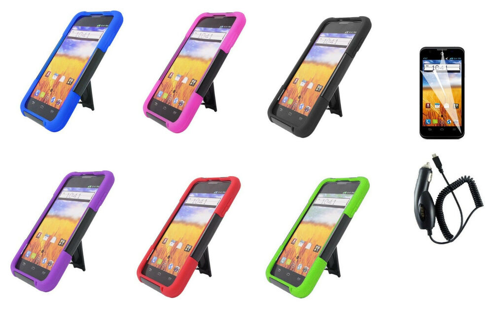... Stand Hybrid Cover Case for ATu0026T Z998 ZTE Mustang Z998 Phone : eBay