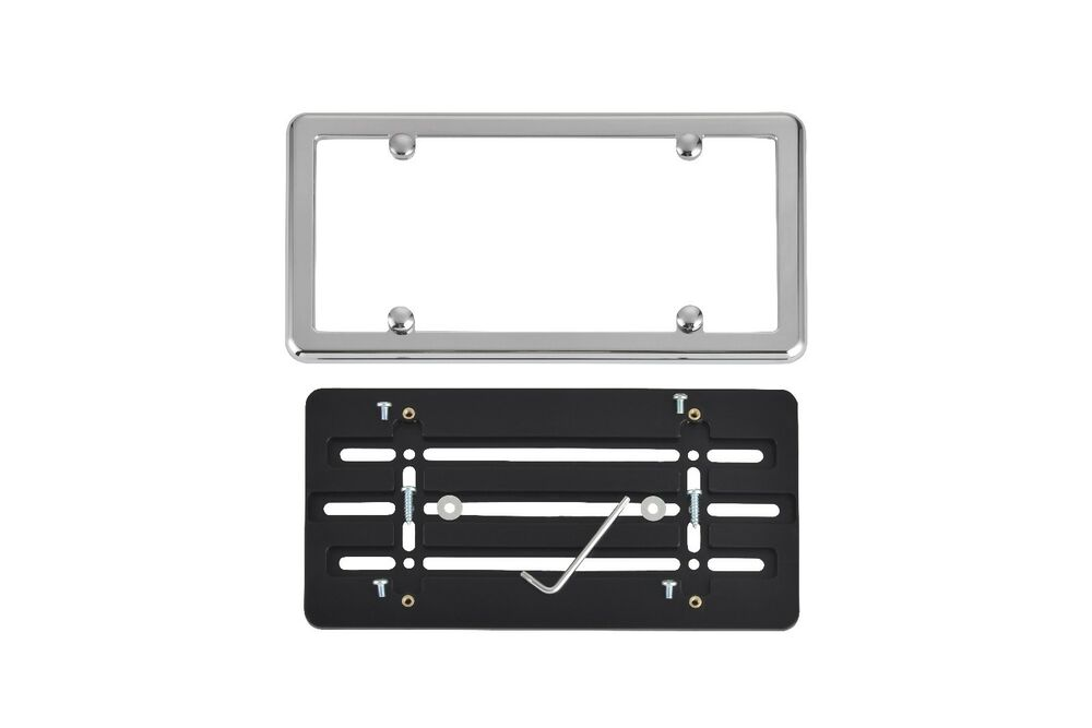 Front Bumper License Plate Holder Mount Bracket Chrome