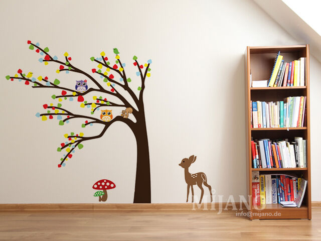 wandtattoo wandsticker wandaufkleber eulen auf baum bambi. Black Bedroom Furniture Sets. Home Design Ideas