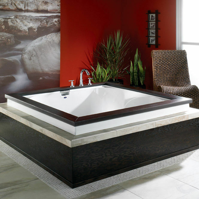 Neptune macao 60x60 acrylic square bath tub for two with for Japanese whirlpool tub