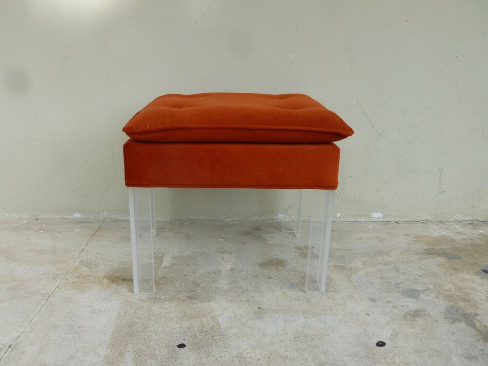 Fab 70 39 S Burnt Orange Bench With Lucite Legs Ebay