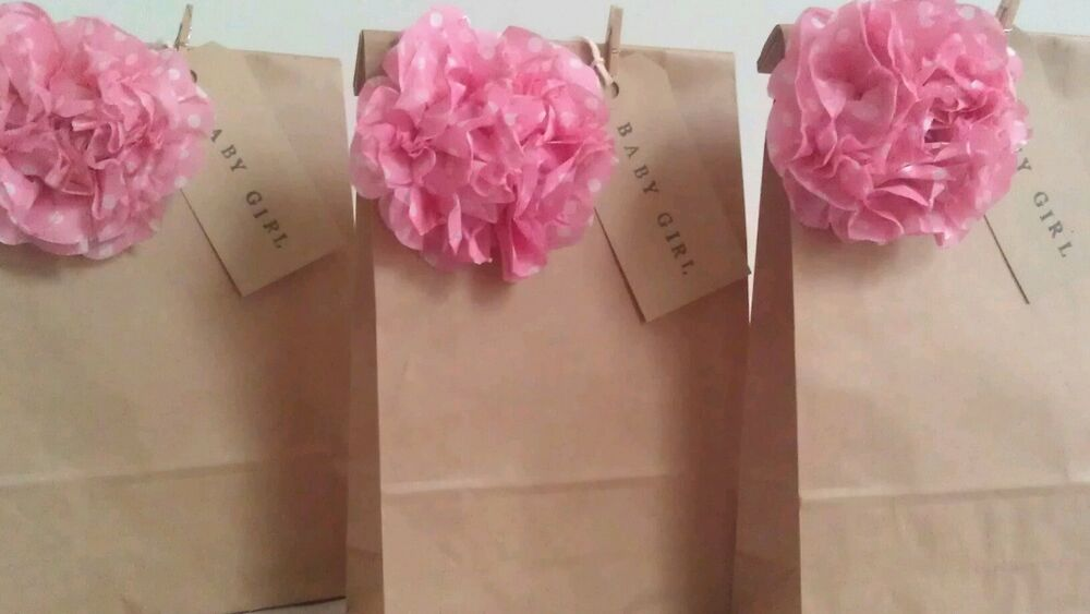 Personalised vintage brown paper favour bags wedding christening party